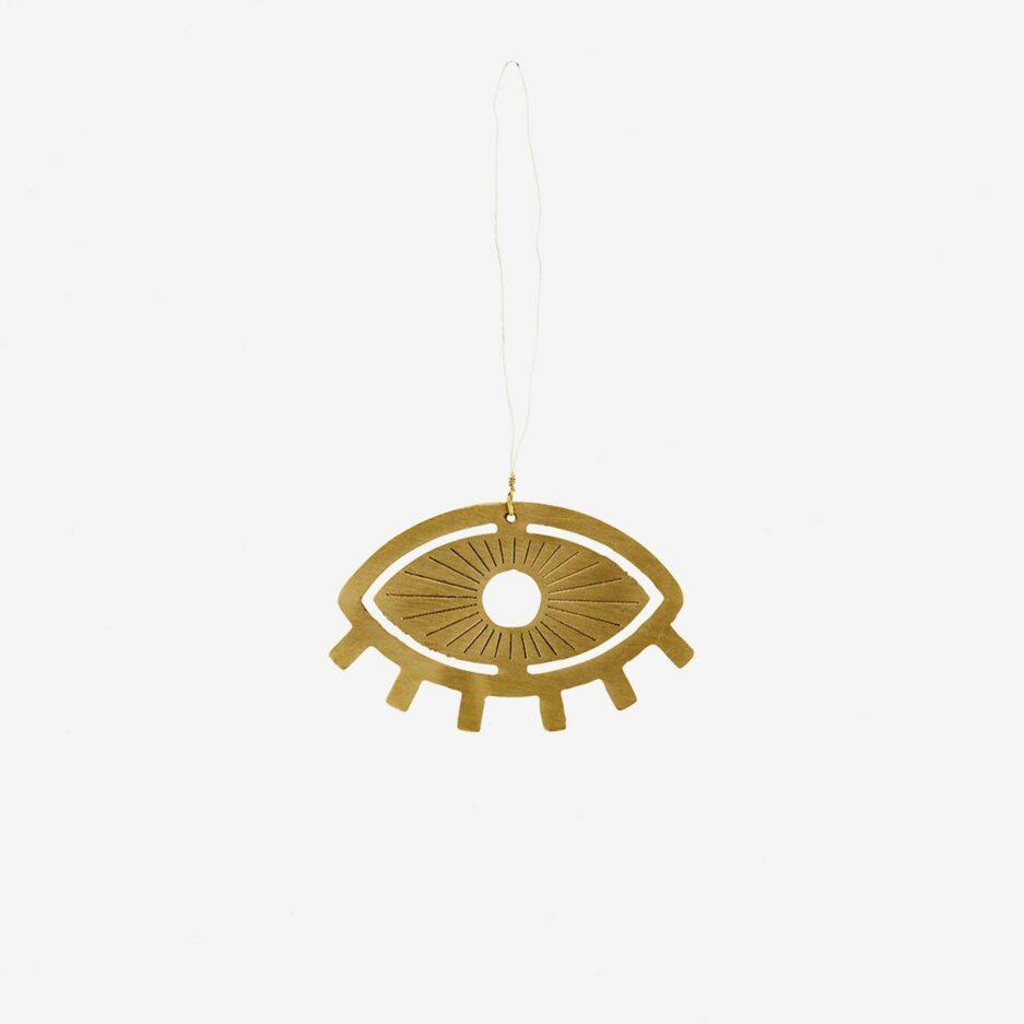 Wanddekoration mit Fatima s Auge | goldener Glücksbringer zum Aufhängen ♥ Orientalische Deko aus Gold farbigem Metall online kaufen ♥ Soulbirdee Onlineshop