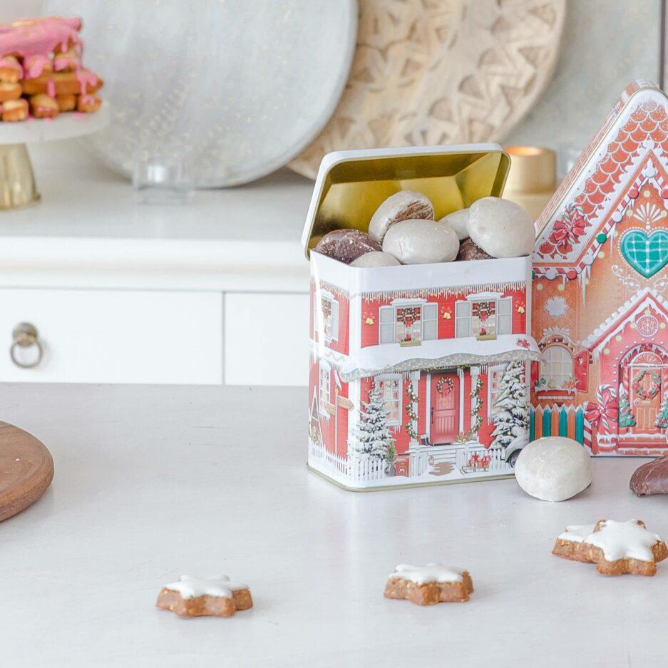 Plätzchendose für selbst gebackenen Plätzchen und die Weihnachtsbäckerei in Form eines Hauses ♥ Besondere Keks-Dosen für Plätzchen online kaufen ♥ Onlineshop Soulbirdee