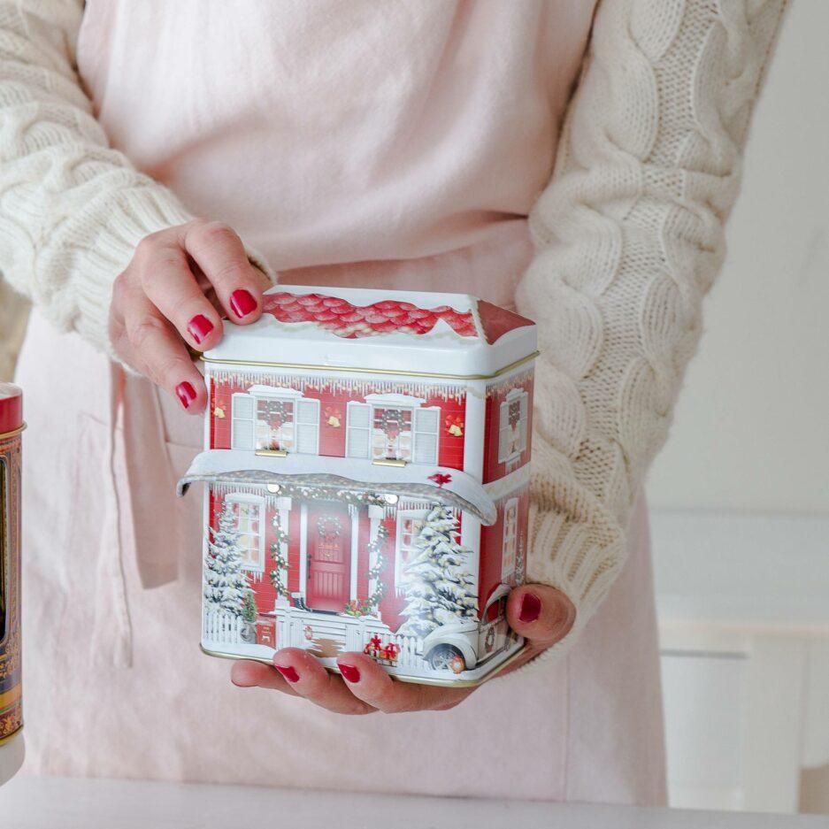 Blechdose für Kekse und die Weihnachtsbäckerei in Form eines Hauses ♥ BesonderenKeksdosen für Plätzchen online kaufen ♥ Onlineshop Soulbirdee