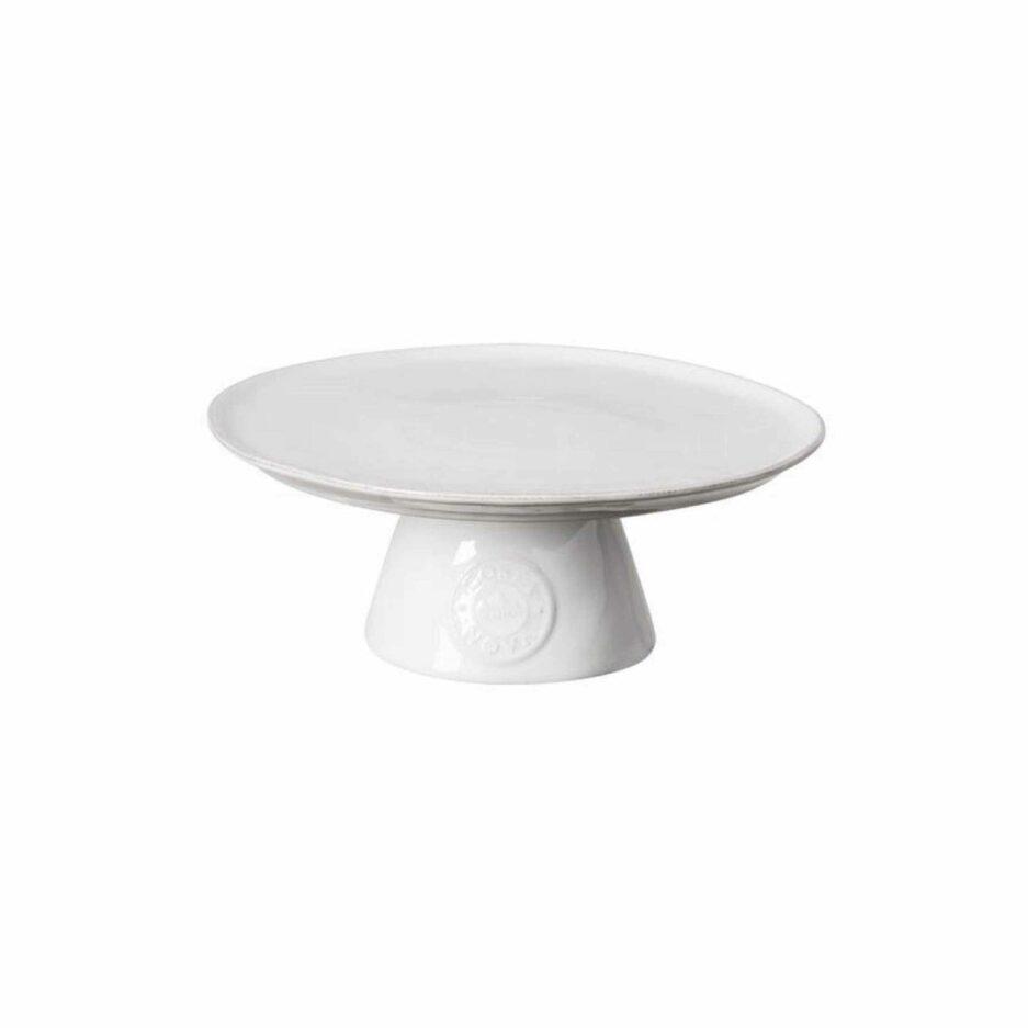 Weißer Tortenständer mit Fuß und Logo Branding ♥ Der Tortenständer ist aus robustem Steinzeug & in Portugal hergestellt ♥ Soulbirdee Onlineshop
