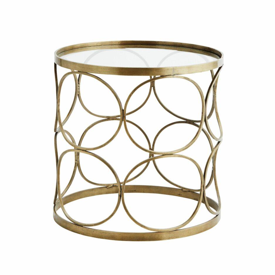 """Couchtisch """"Casablanca"""" Gold im Boho Wohnstil. Der orientalisch inspirierte Beistelltisch ist 40 x 41 cm groß und eignet sich als Couchtisch"""