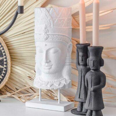 Buddha Deko als weiße Buddha Statue ♥ Unser Happy Buddha passt sehr gut zur Einrichtung im Boho & Ethno Style   Onlineshop, netter Service