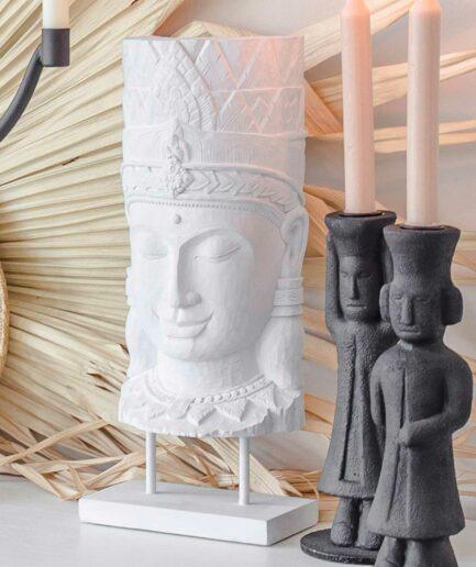 Buddha Deko als weiße Buddha Statue ♥ Unser Happy Buddha passt sehr gut zur Einrichtung im Boho & Ethno Style | Onlineshop, netter Service