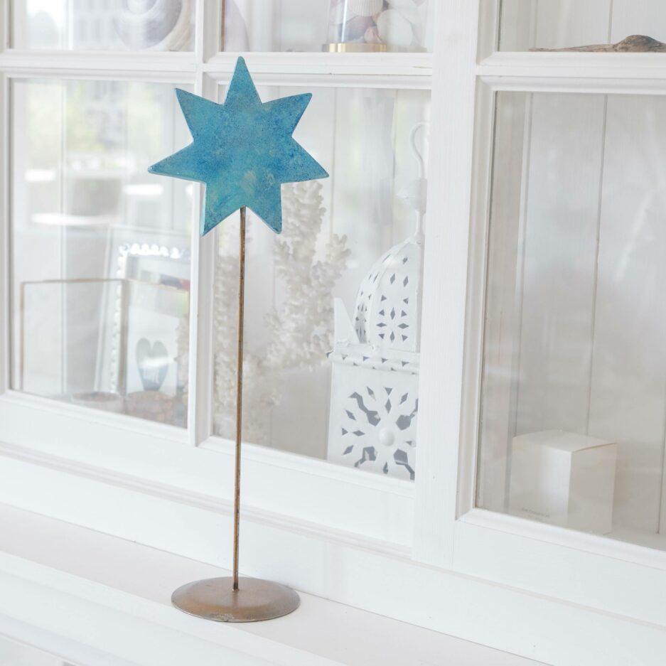 Türkis Deko Stern auf Ständer für die skandinavische Dekoration im Advent   dekorieren Onlineshop Soulbirdee   Weihnachtsdeko online kaufen