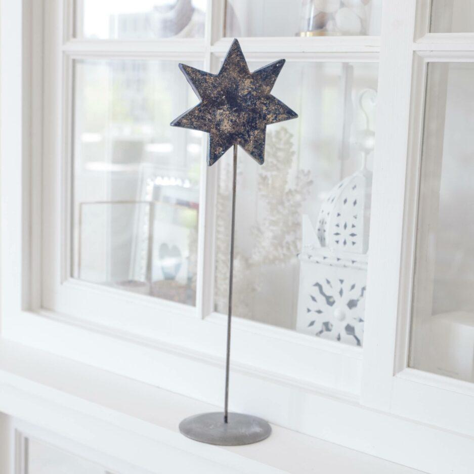 Blauer Stern auf Ständer für die skandinavische Dekoration im Advent   dekorieren Onlineshop Soulbirdee   Weihnachtsdeko online kaufen
