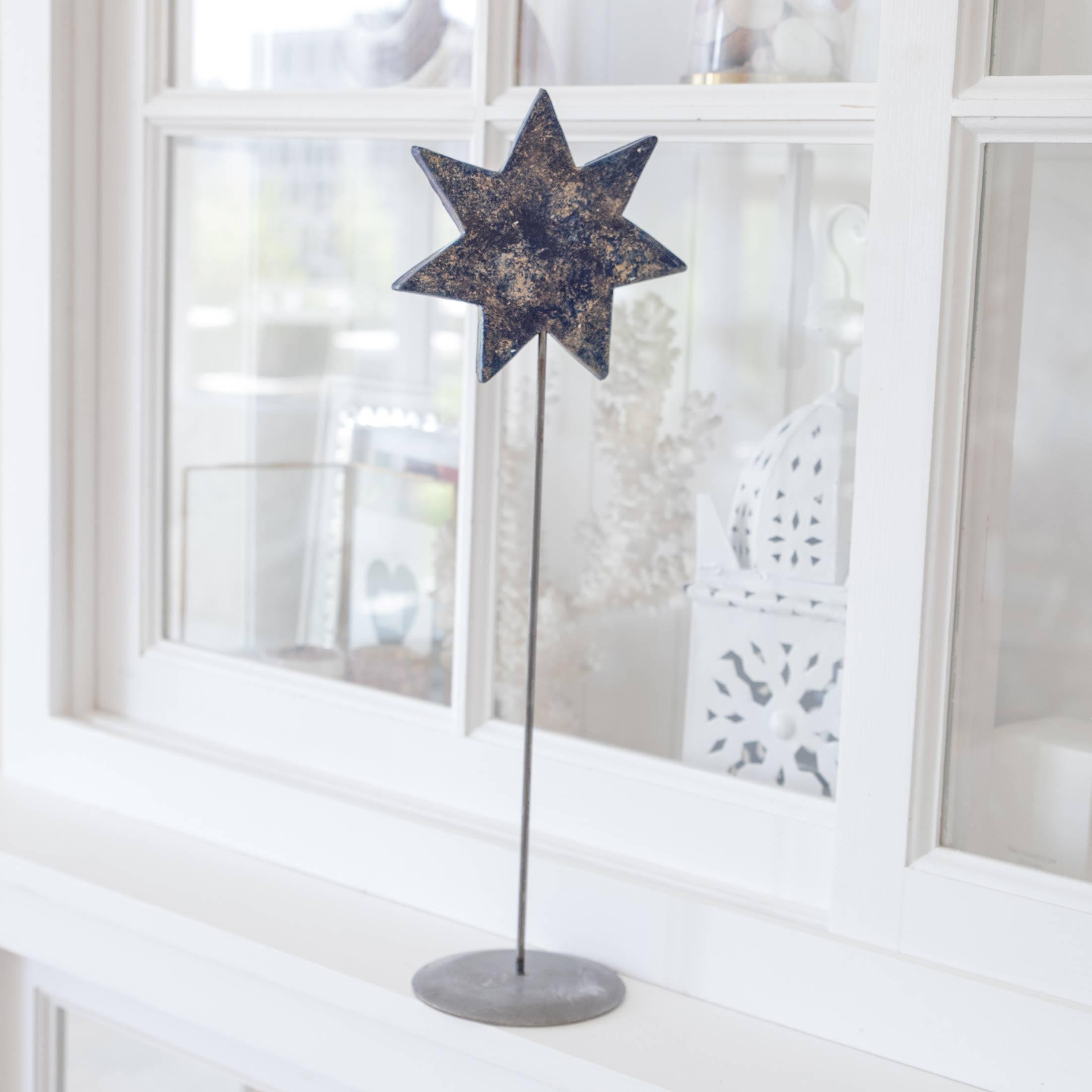 Blauer Stern auf Ständer für die skandinavische Dekoration im Advent | dekorieren Onlineshop Soulbirdee | Weihnachtsdeko online kaufen