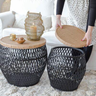 Couchtisch aus Rattan im skandinavischen Style. Das Set besteht aus 2 Sofatischen. Beistelltisch online kaufen bei Soulbirdee Onlineshop
