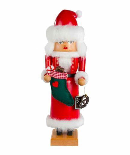 """Weibliche Nikolaus Figur """"Mrs. Santa"""" für die Vintage Weihnachtsdekoration. Figur aus dem Erzgebirge von der Marke KWO bei Soulbirdee GÜNSTIG kaufen"""