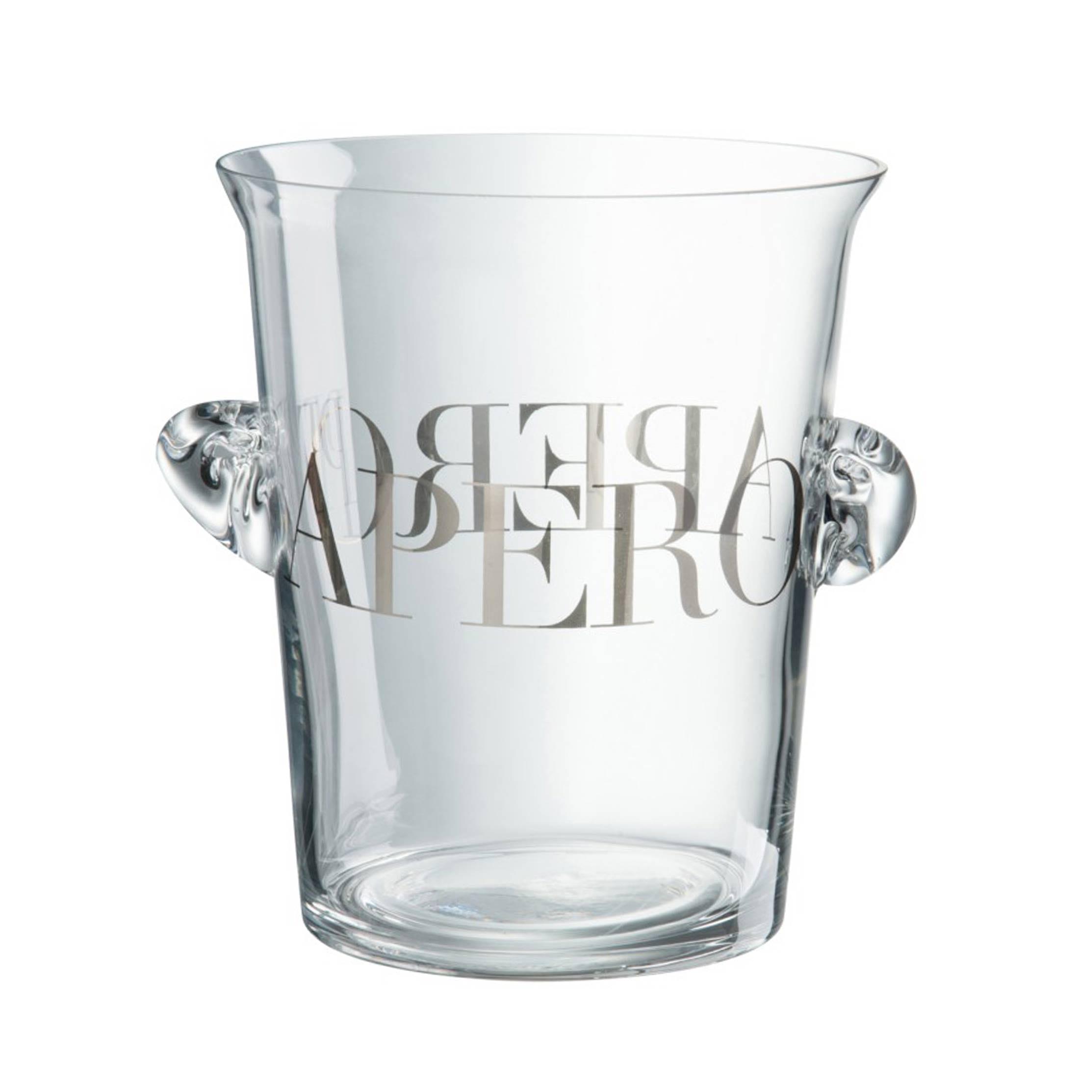 Sektkühler aus Glas mit silberner Schrift von der Marke Jline. Entdecke passend dazu die Champagner Gläser für dein schönstes Fest