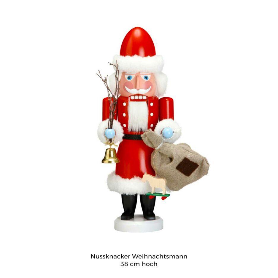 Der Weihnachtsmann Nussknacker Mr. Santa ist eine wunderschöne und nützliche Holzfigur zum Knacken von leckeren Nüssen ♥ Erzgebirge Figur