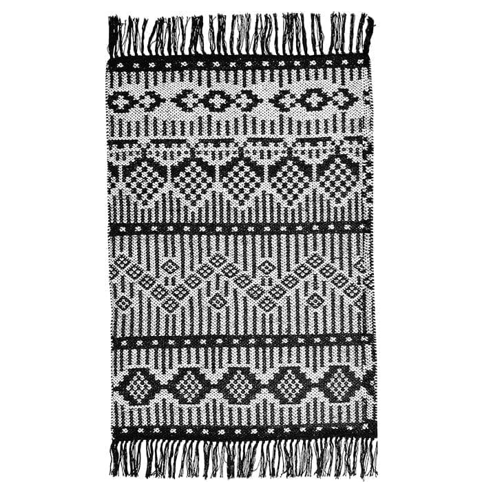 Läufer Teppich aus recycelter Baumwolle in Schwarz, Lila, Gelb | Liv Interior. Läufer mit 140 x 70 cm, waschbar, Wohnzimmer-Teppich kaufen