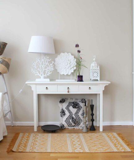 Gelber Teppich aus recycelter Baumwolle in Schwarz, Lila, Gelb | Liv Interior. Läufer mit 140 x 70 cm, waschbar, Wohnzimmer-Teppich kaufen