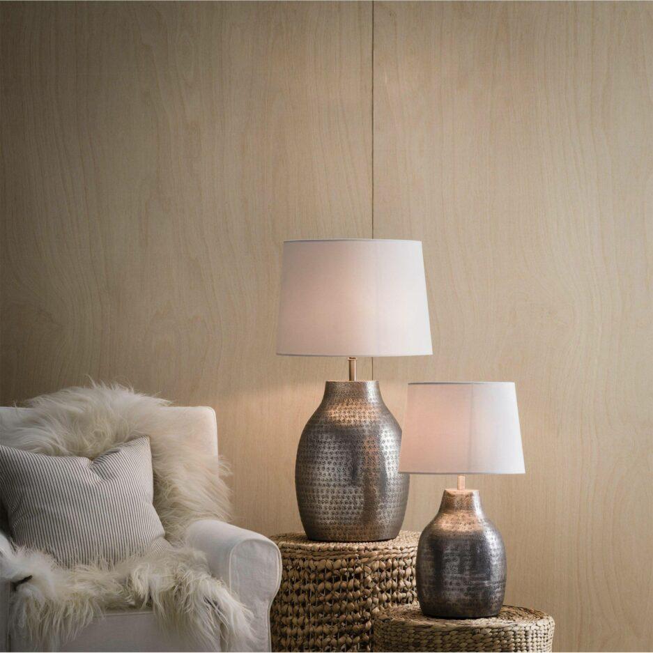 Marokkanische Lampe aus Metall mit schönem Muster von der Marke PR Home. Tischlampe aus gehämmerten Metall und Lampenschirm mit 40cm Höhe für das Schlafzimmer
