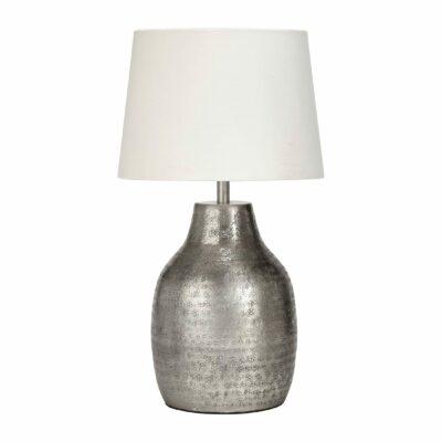 Marokkanische Lampe aus Metall mit schönem Muster von der Marke PR Home. Tischlampe aus silber gehämmerten Metall und Lampenschirm mit 40cm Höhe für das Wohnzimmer