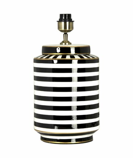 Vasen-Lampe aus Keramik mit Streifen geringelt und mit weißem Lampenschirm von der Marke PR Home aus Schweden. Tischlampe im maritimen Stil für das Wohnzimmer