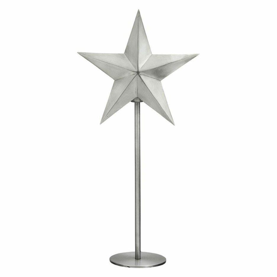 Silberne Tischlampe mit Stern aus Metall mit 76cm Höhe von der Marke PR Home aus Skandinavien. Stern-Lampe für die Weihnachtsdeko mit Stecker und Glühbirne