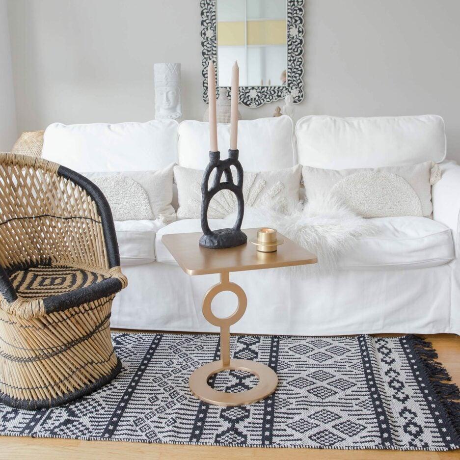 Läufer Teppich aus Baumwolle in Schwarz, Lila, Gelb von der Marke Liv Interior. Läufer mit 140 x 70 cm, waschbar für das Wohnzimmer