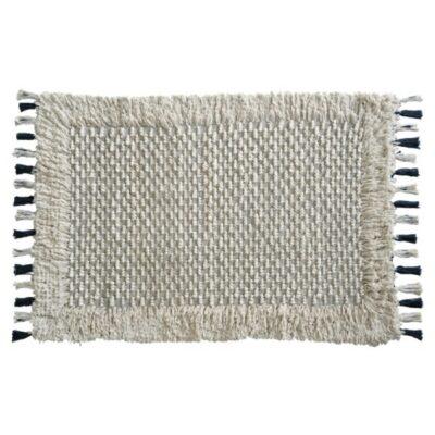 Teppich in 120x170cm mit Fransen und Troddeln von der Marke Au Maison. Bohemian Teppich für das Wohnzimmer in Creme Weiß online kaufen
