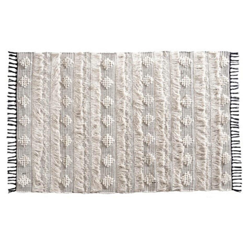 Bohemian Teppich aus 100% Baumwolle von der Marke Au Maison. Wohnzimmerteppich mit Fransen im Boho Look jetzt bei Soulbirdee.com