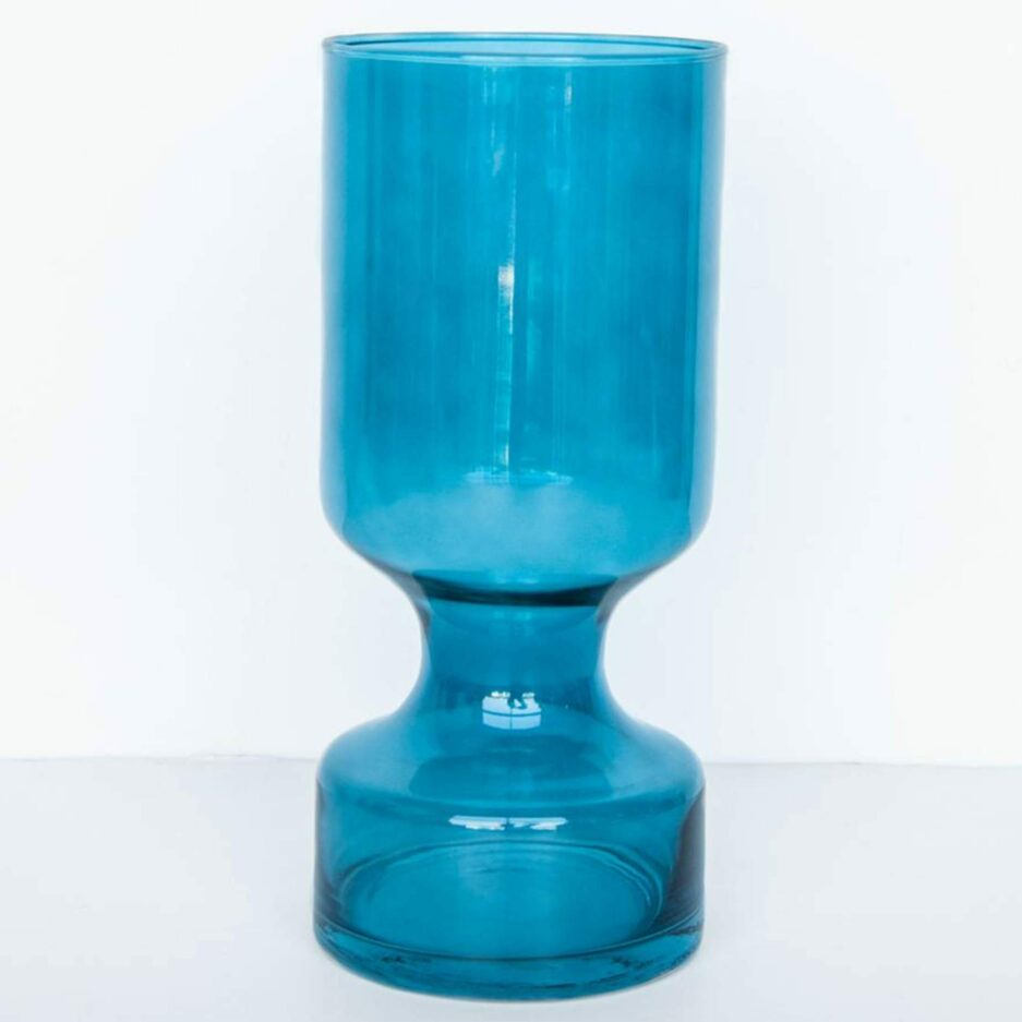 Marokkanische Vase mit 30cm Höhe aus blauen Glas. Blumenvase im maritimen Stil für hohe Blumen bei Soulbirdee kaufen