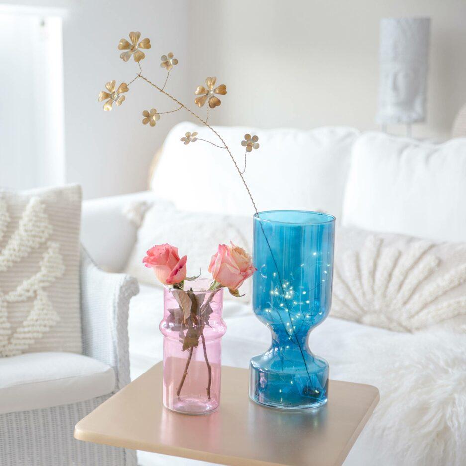 Orientalische Vase aus rosa Glas | 20cm hoch, von Urban Nature Culture. Blumenvase als Dekoration in Pastell bei Soulbirdee Onlineshop online kaufen