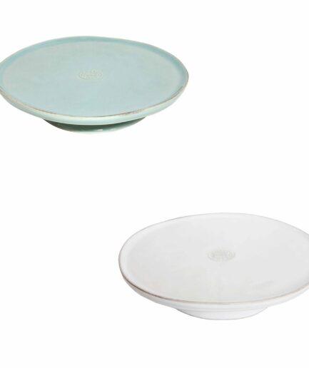 Kuchenplatte mit Fuß und 26cm Durchmesser, spülmaschinenfest von der Marke Costa Nova. Platte für Kuchen aus Portugal bei Soulbirdee bestellen