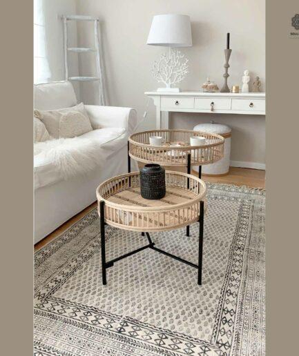 Runder Tablett-Tisch aus Bambus als Set in 2 Größen von der Marke Au Maison. Sofatisch aus Rattan im Bohemian Wohnstil bei Soulbirdee Online kaufen
