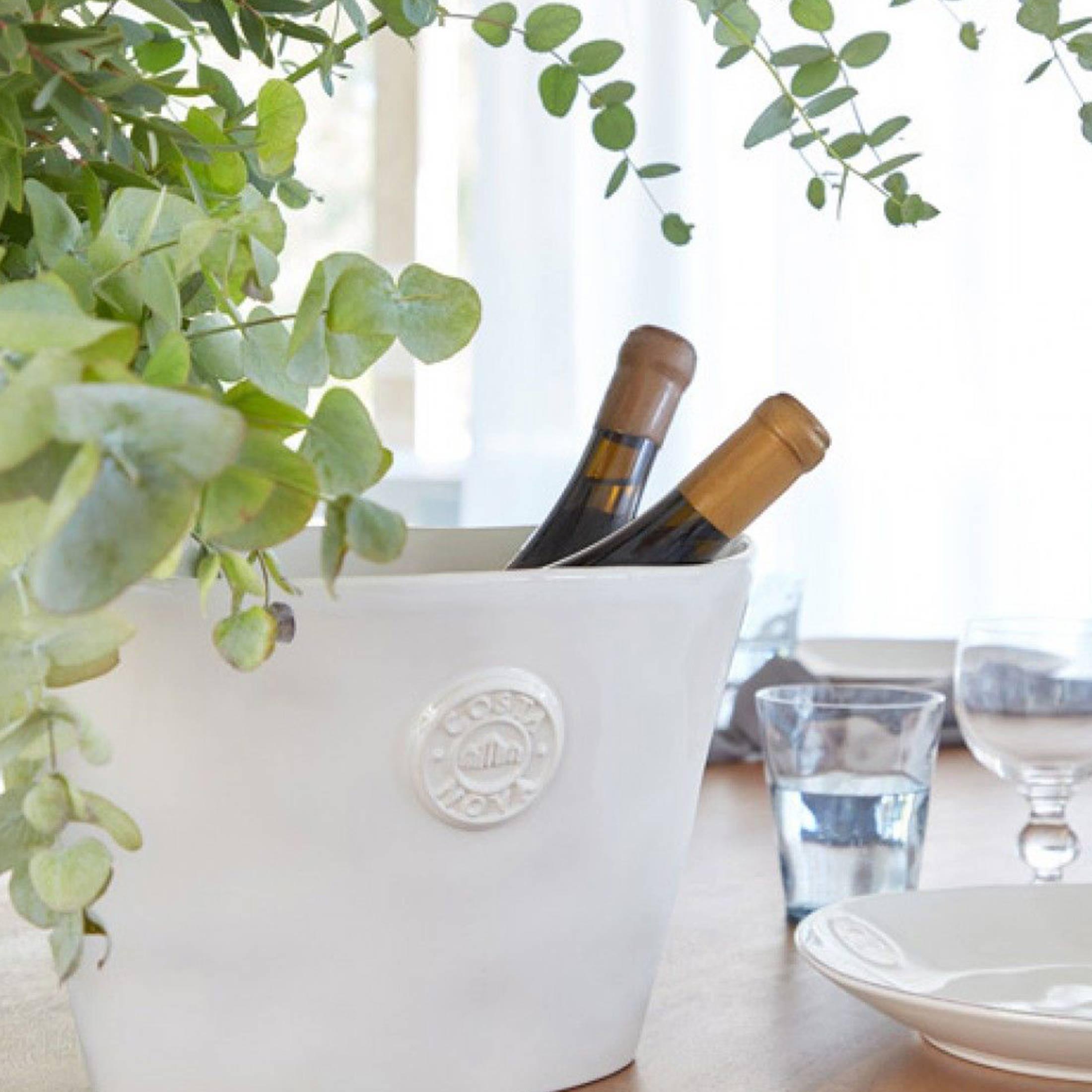Sekt-Kühler weiss aus Steinzeug ♥ Kühler für Getränke und als Deko für das Brunch Buffet | Geschirr von Costa Nova ♥ Getränke Kühler