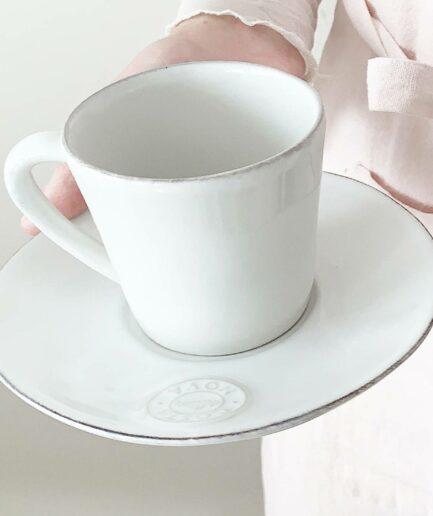 Kaffeetasse mit Untersetzer, 8 cm Durchmesser von der Marke Costa Nova. Spülmaschinenfestes, mirkowellenfestes Geschirr bei Soulbirdee kaufen