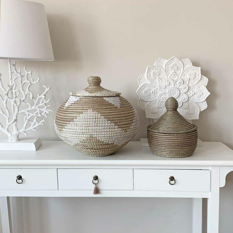 Goldener Deckelkorb Medina online kaufen ♥ Korb ✅ Nützlich & schicke Dekoration. Für Badezimmer, Flur, Wohnzimmer, Küche