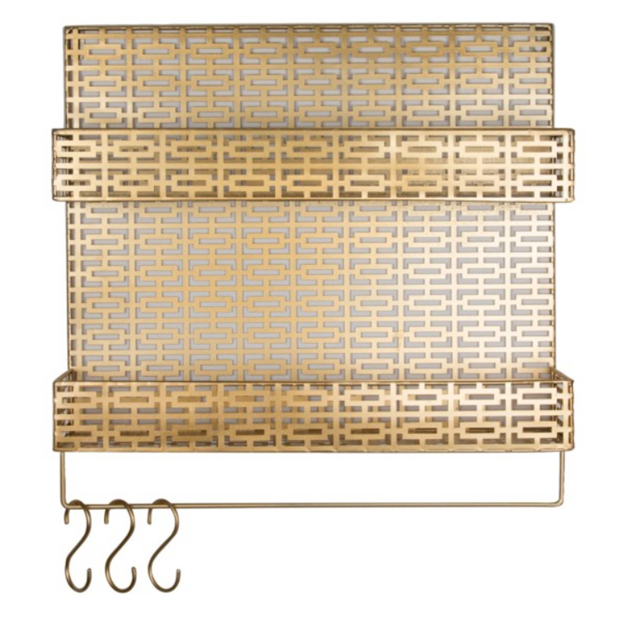 Wand Organizer mit 3 Haken und 2 Fächern aus Metall für die Aufbewahrung. Elegantes Wandregal in Gold & Schwarz bei Soulbirdee bestellen