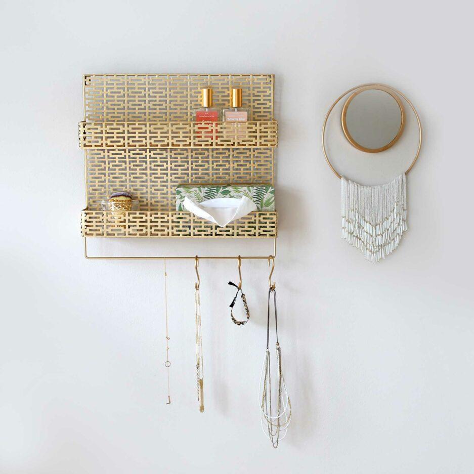 Goldenes Wandregal, Organizer für die Wand zum Aufhängen, Büro Regal Gold, Soulbirdee Onlineshop