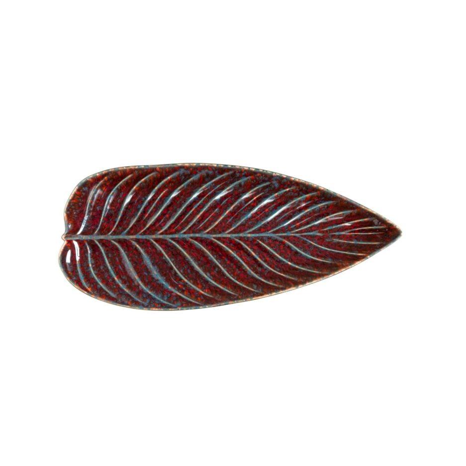 Platte Strelizia Blatt Riviera, Rotes Blatt Geschirr von Christian Tortu für Costa Nova. Geschirr online kaufen für Festtage bei Soulbirdee