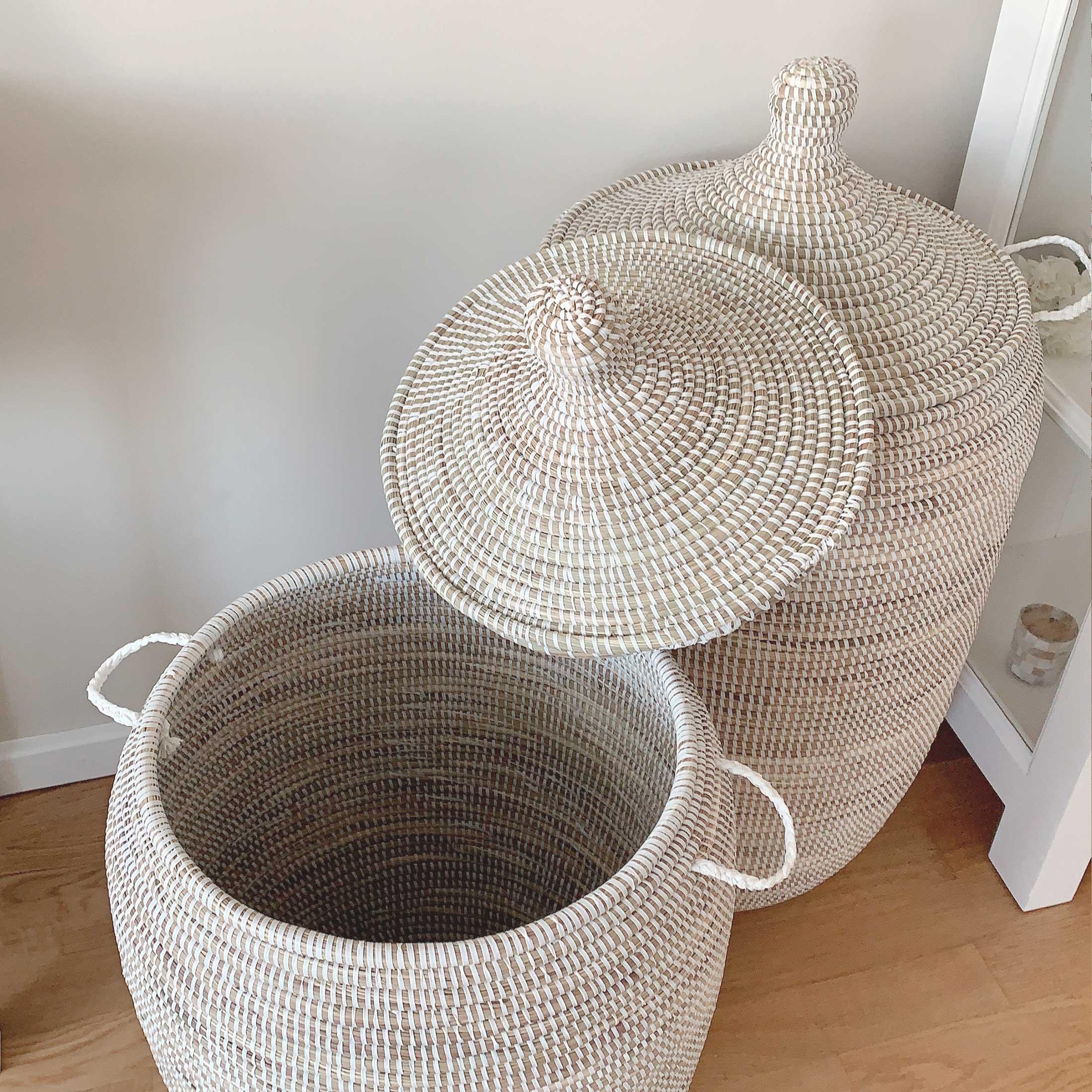 Weisser Deckel-Korb mit Henkel für die Aufbewahrung ✅ Henkelkorb online kaufen ♥ Für Wäsche, Badezimmer, Spielzeug, Wohnzimmer, Küche