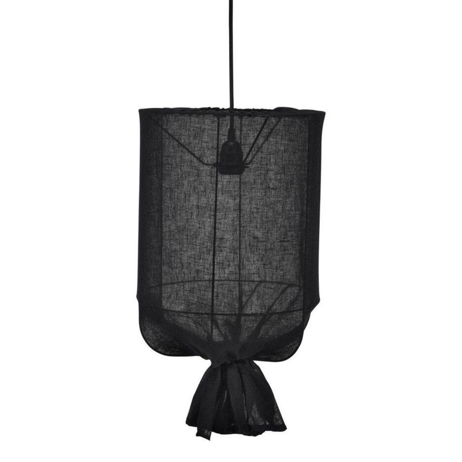Hängelampe aus Stoff zum Binden in Schwarz von der Marke PR Home. Hängeleuchte im Bohemian Wohnstil mit 30 & 40 cm Durchmesser bei Soulbirdee kaufen