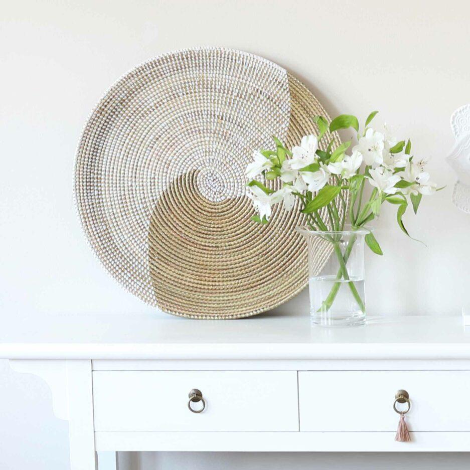 Runder Korb GOLD ♥ Grosser Korb aus Savannen-Gras für das Wohnzimmer, für Strickzeug oder Decke. Aufbewahrung online kaufen, Soulbirdee