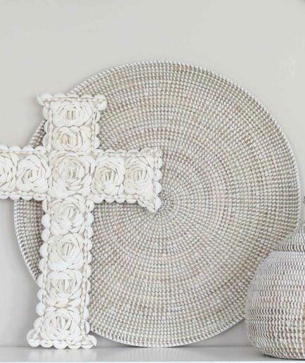 Deco OCEANA ♥ Weiße Wanddekoration aus Seegras | Flache Schale und Wandteller als Dekoration | Onlineshop Soulbirdee Deko & Interior