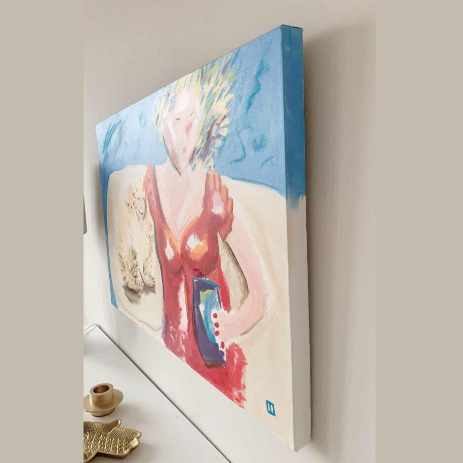 Frau mit Katze ♥ Gemälde als Wohndeko ♥ Malerei als Deko zum Wohnen im Ibiza Stil ♥ Bild kaufen