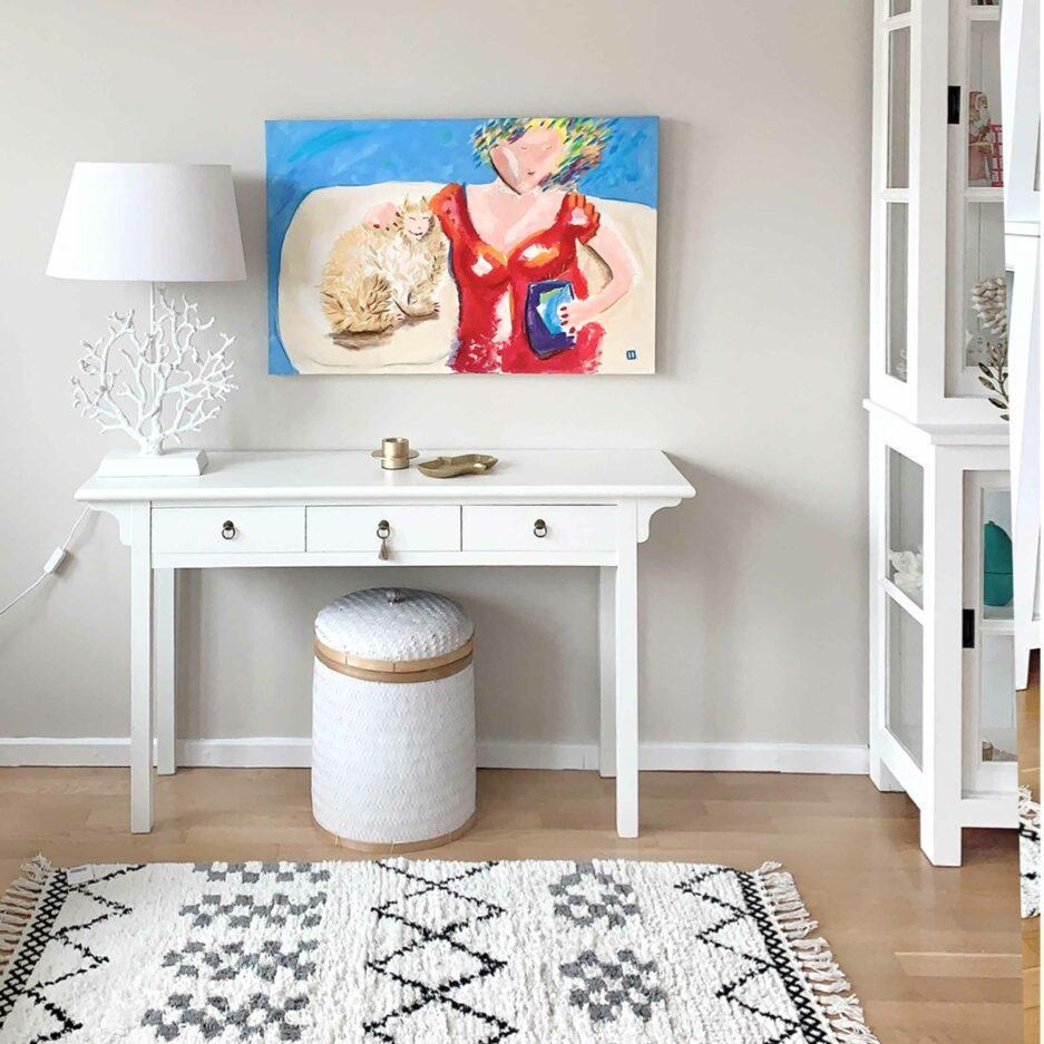 Frau mit Katze ♥ Gemälde als Wohndeko ♥ Malerei als Deko zum Wohnen im Ibiza Stil ♥ Bild kaufen bei Soulbirdee Onlineshop