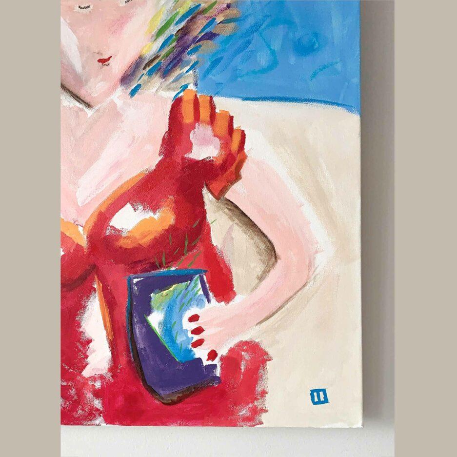 Frauenbild ♥ Gemälde als Wohndeko ♥ Malerei als Deko zum Wohnen im Ibiza Stil ♥ Bild kaufen bei Soulbirdee Onlineshop