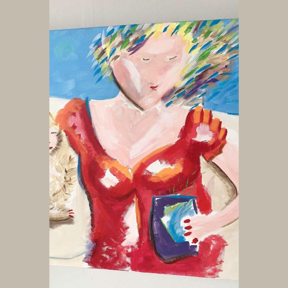Frau mit Katze ♥ Hockney Inspiriert Gemälde als Wohndeko ♥ Malerei als Deko zum Wohnen im Ibiza Stil ♥ Bild kaufen bei Soulbirdee Onlineshop