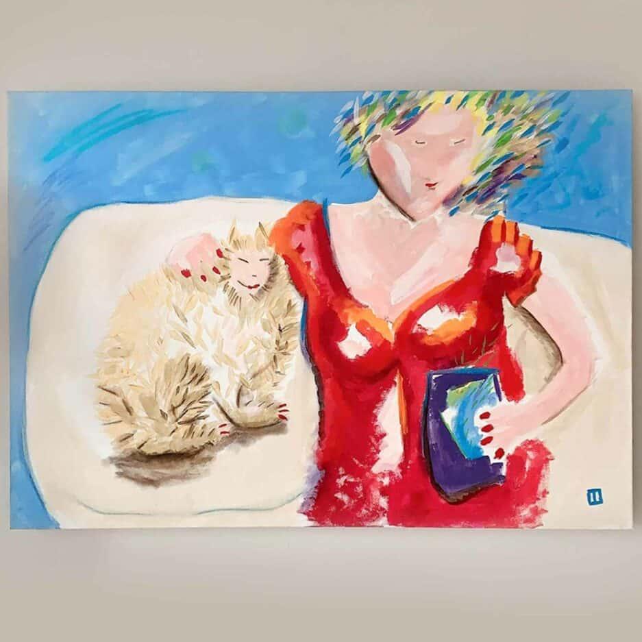 Katze mit Frau ♥ Gemälde als Wohndeko ♥ Fröhliche Malerei als Dekoration zum Wohnen im Ibiza Stil ♥ Bild kaufen bei Soulbirdee Onlineshop