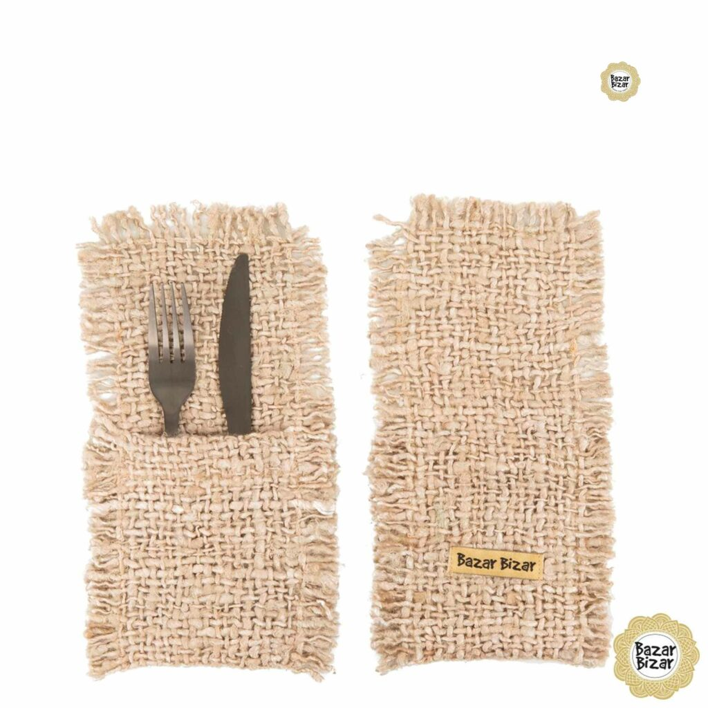 Besteck Tasche in Beige ♥ The Oh My Gee Cutlery Holder von Bazar Bizar   Tischdeko aus Baumwolle   Tischdeko online kaufen bei Soulbirdee Onlineshop
