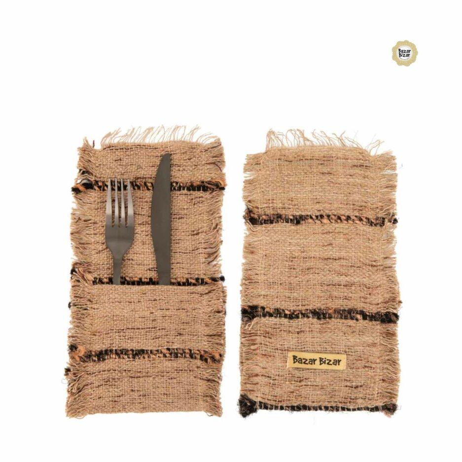 Besteck Tasche in Beige Schwarz ♥ The Oh My Gee Cutlery Holder von Bazar Bizar | Tischdeko aus Baumwolle | Tischdeko online kaufen bei Soulbirdee Onlineshop