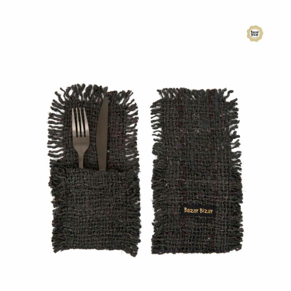Besteck Tasche in Schwarz ♥ The Oh My Gee Cutlery Holder von Bazar Bizar | Tischdeko aus Baumwolle | Tischdeko online kaufen bei Soulbirdee Onlineshop