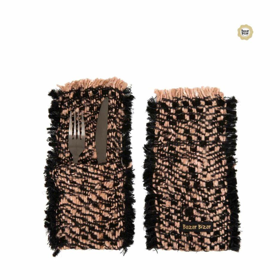 Besteck Tasche in Schwarz Kupfer ♥ The Oh My Gee Cutlery Holder von Bazar Bizar | Tischdeko aus Baumwolle | Tischdeko online kaufen bei Soulbirdee Onlineshop