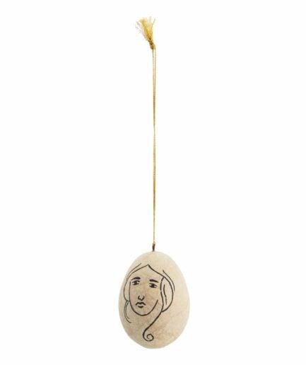 Osterei mit Gesicht ♥ Ei von der Marke Madam Stoltz im Boho Stil mit Muster. Traumhaft schöne Oster Deko im Bohemian Stil für Ostern