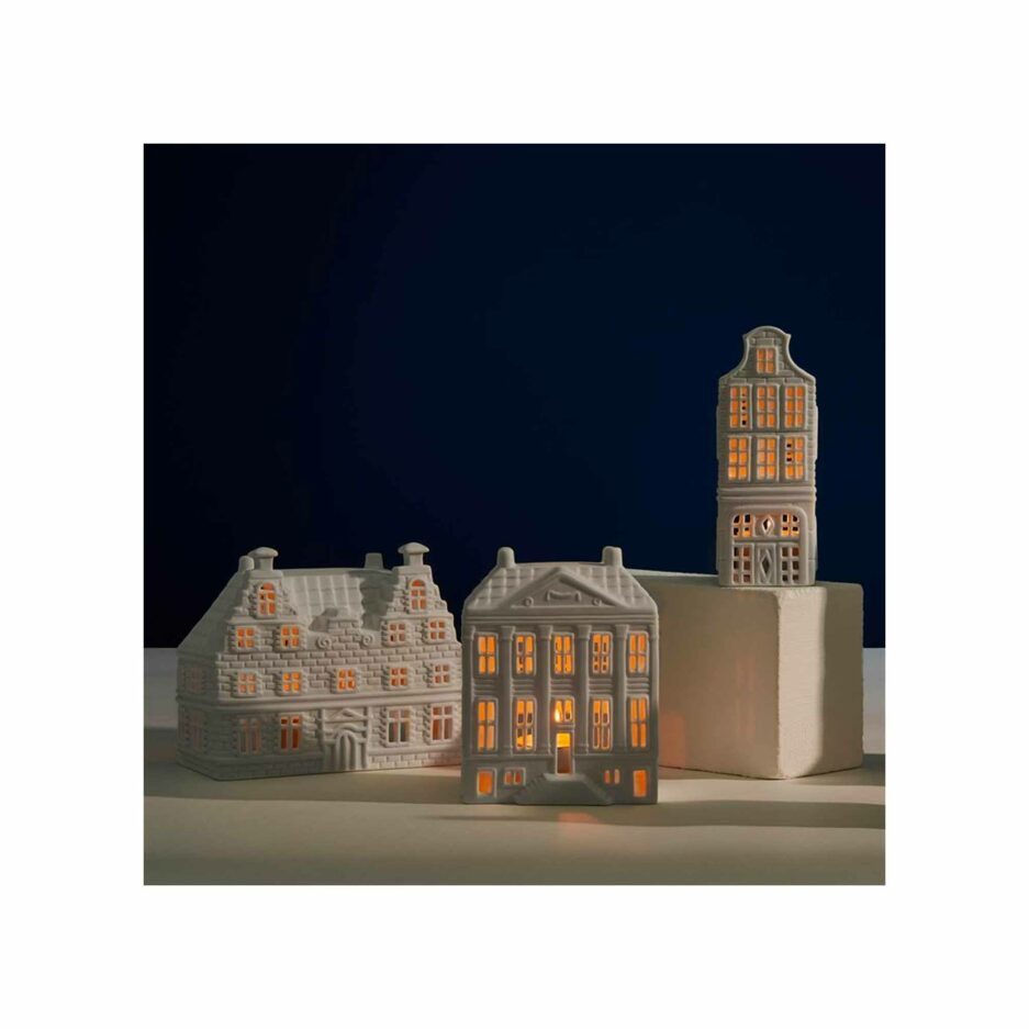 Grachtenhaus Amsterdam für Teelichter aus der Kollektion von Klevering Amsterdam ♥ Kerzenhalter in der Form eines Haus aus Porzellan | Kerzendeko kaufen