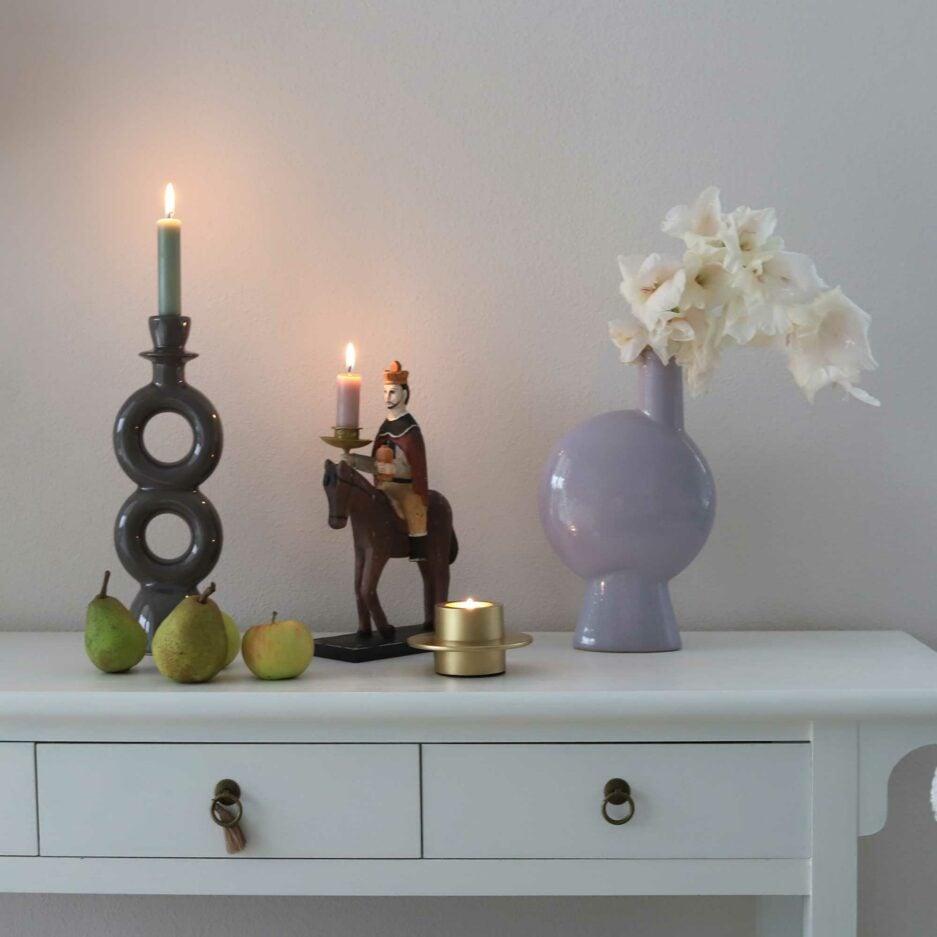 Kerzenhalter in der Herbstdekoration