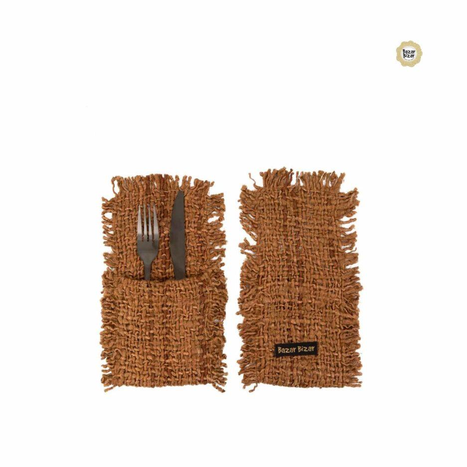 Besteck Tasche in Braun ♥ The Oh My Gee Cutlery Holder von Bazar Bizar | Tischdeko aus Baumwolle | Tischdeko online kaufen bei Soulbirdee Onlineshop